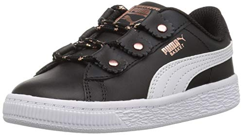 PUMA Girls' Basket Loops Sneaker Black White-Rose Gold, 10 M US Toddler ()