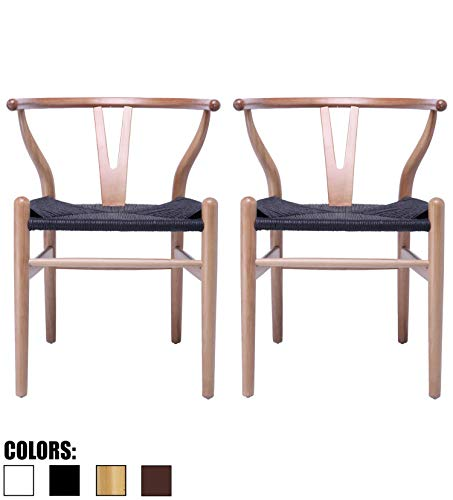 2xhome Natural Set of 2 Wishbone Wood Armchair with Arms Open Y Back Open Mid Century Modern Contemporary Office Chair Dining Chairs Woven Black Seat Living Desk