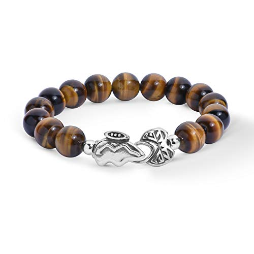 - American West Sterling Silver Tiger Eye Gemstone Bead and Bear Clasp Bracelet Size Large