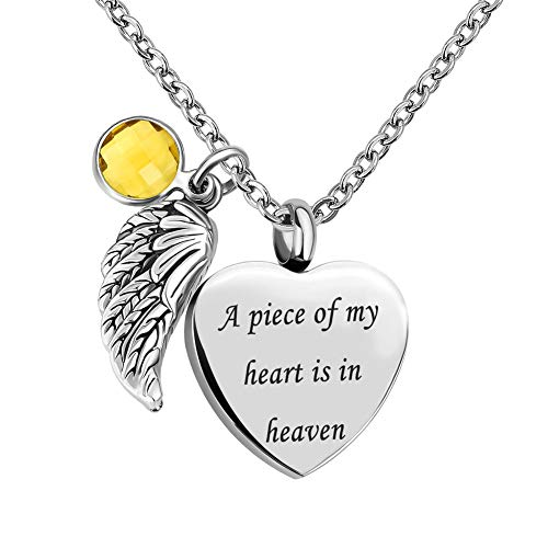 - Sug Jasmin Jan-Dec Birthstone Angel Wings Heart Cremation Urn Necklace for Memorial Jewelry A Piece of My Heart is in Heaven Ashes Pendant with Fill Kit (November)