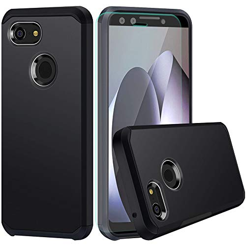 Google Pixel 3 Case with HD Screen Protector Slinco Dual Layer Hybrid Shock Proof Protective Rugged Wireless Charging Designed for Google Pixel 3 (2018)(Black)