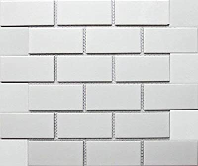 "White Tile Ceramic Subway Brick Gloss Finish 2"" X 4"" (Box of 10 Sqft), Wall Tile, Backsplash Tile, Bathroom Tile on 12x12 Mesh for Easy Installation"