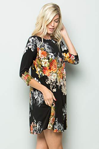 Pocket Tunic Sleeve A 7659skgk Closet Print Junky 3 Blk 4 Women's Taupe Dress Side Line ZI0qq8vxw