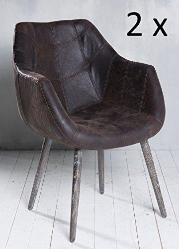 2x Armlehnenstuhl Stuhl Leder Hellbraun Dunkelbraun Grau mit Holzbeinen Esszimmerstuhl Echtleder Esszimmersessel Designstuhl Loungesessel Sessel Retro Look (2er, Dunkelbraun)