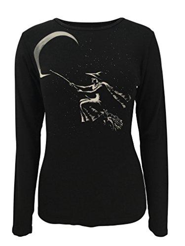Green 3 Halloween Witch Long Sleeve Shirt (Black) - 100% Organic Cotton Womens T Shirt, Made in The USA (XXL) -