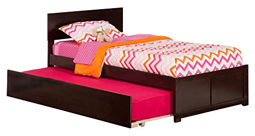 Brown Trundle - Atlantic Furniture Orlando Bed with Flat Panel Foot Board and Urban Trundle, Twin, Espresso