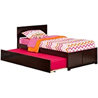 Orlando Bed with Flat Panel Foot Board and Urban Trundle, Twin, Espresso