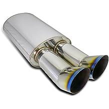 """Spec-D Tuning MF-RS3DTT 3"""" Universal Euro Hi-Power Dual Tip Dtm Exhaust Muffler"""