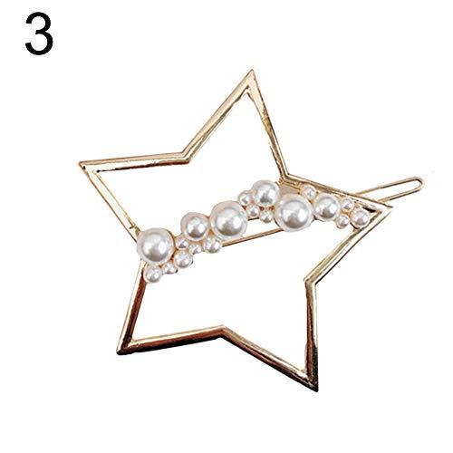 Yinpinxinmao Fashion Hollow Moon Star Circle Faux Pearl Hair Clip Hairpin Women Barrette Star
