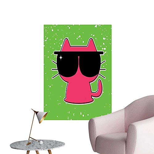 - Wall Painting Cute Cat with Sunglasses Hipster Baby Animal Nursery Children Design Lime Green Pink High-Definition Design,12
