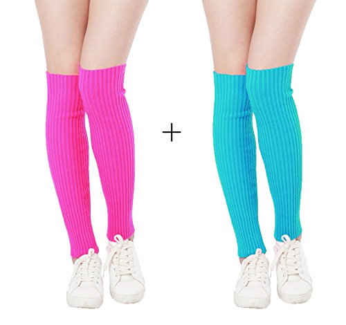 80s Workout Outfits (Kimberly's Knit Women 80s Pink Retro for Running Workout Leg Warmers (18''+18'', Color 6))