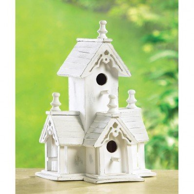 Cheap  Birdhouses Shabby White Washed Victorian Style Church Chapel Birdhouse French Country Decor