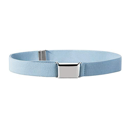 Buyless Fashion Kids and Baby Adjustable and Elastic Dress Stretch Belt with Silver Buckle - 5101-Light-Blue