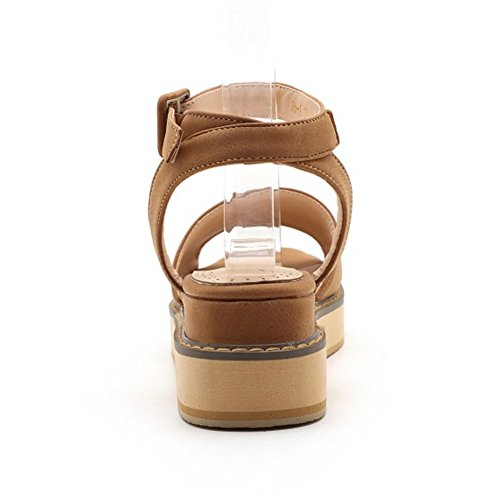 COOLCEPT Mujer Moda Ankle Strap Sandalias Punta Abierta Tacon de cuna Slingback Zapatos Amarillo
