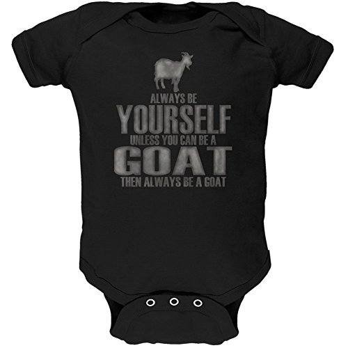 Animal World Always Be Yourself Goat Black Soft Baby One Piece - 12 Month