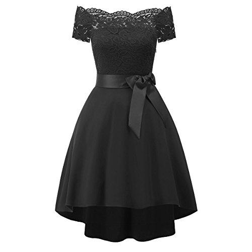 FemmeVintage Black soire Robe Ceinture Robe Mariage avec De Dentelle pour Nouvelle Mini qtP7H