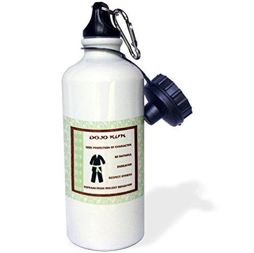 3dRose wb_218334_1 DoJo Kun, Japanese Martial Arts, Karate Rules, Green Belt Sports Water Bottle, Multicolored, 21 oz by 3dRose