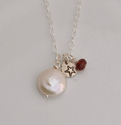 Coin Pearl Garnet Necklace with Fine Silver Star Charm on Sterling Silver