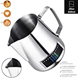 Milk Frothing Pitcher, Stainless Steel Creamer Frothing Pitcher With Integrated Thermometer 20 oz (600 ml), Chrome