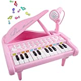 Mini Piano for 3-6 Year Old Girls, 24 Key Grand Keyboard Piano Music Keyboard Toys with Microphone 3 4 5 6 Year Old Girl Toys Girls Gifts Age 3-6 Pink
