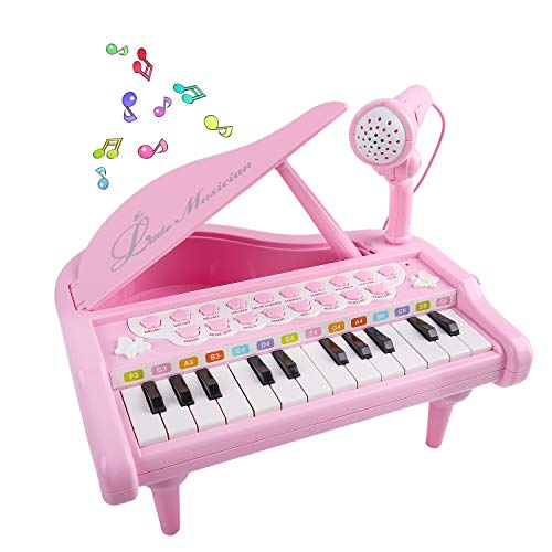 (M SANMERSEN Piano Keyboard Toys for Baby & Toddler 1 2 3 4 Year Old Girls, Multi-Functional Electronic Mini 24 Key Piano Music Learning Keyboard Toys with Microphone Birthday Gifts for Baby Kids Pink)