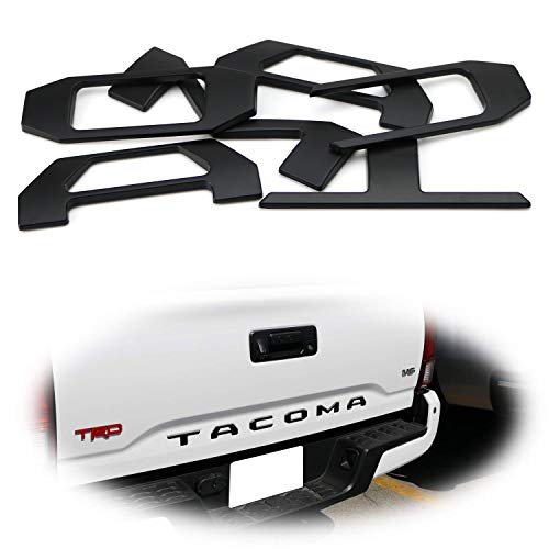 (iJDMTOY 6pcs Raised 3D Tailgate Letters Fit For 2016-up Toyota Tacoma Trunk, Matte Black Finish Alloy Metal w/Adhesive Backing)