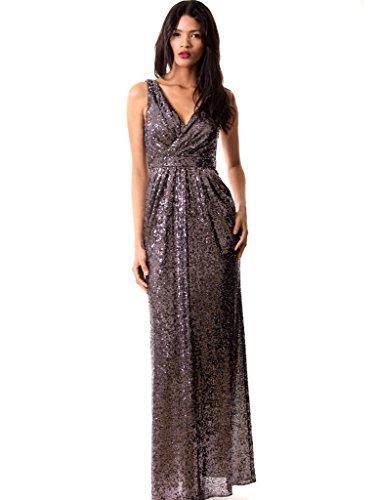 Miss Mint Women's Sleeveless Deep V Neck Sequined Evening Gown