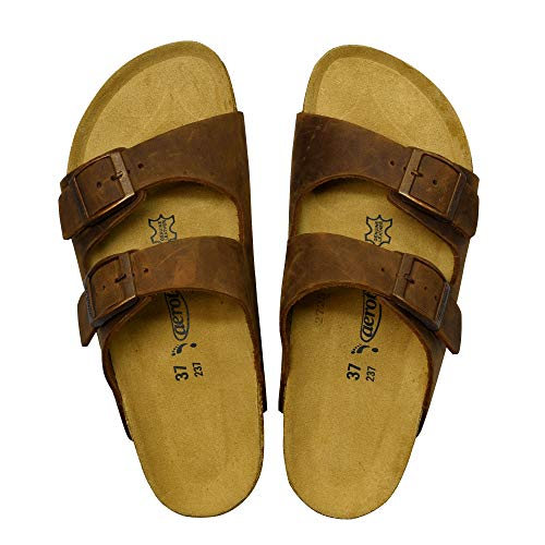 AEROTHOTIC - Genuine Suede Leather and Cork Footbed Sandals for Women (US-Women-6, Vista Brown) (Genuine Suede Ladies Leather)