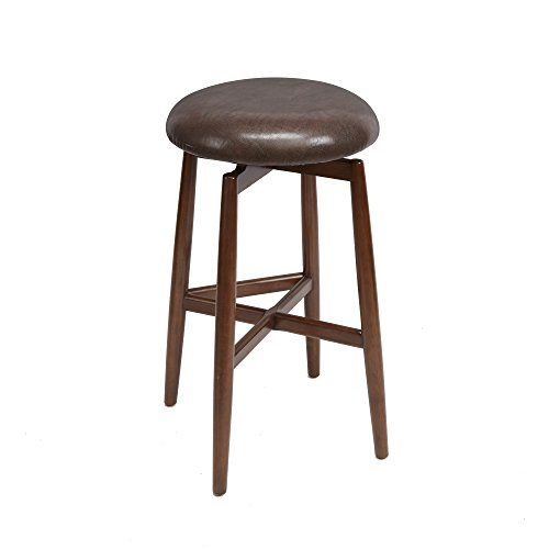Dodie Modern Wood Swivel Barstool with Round Cushion, 29