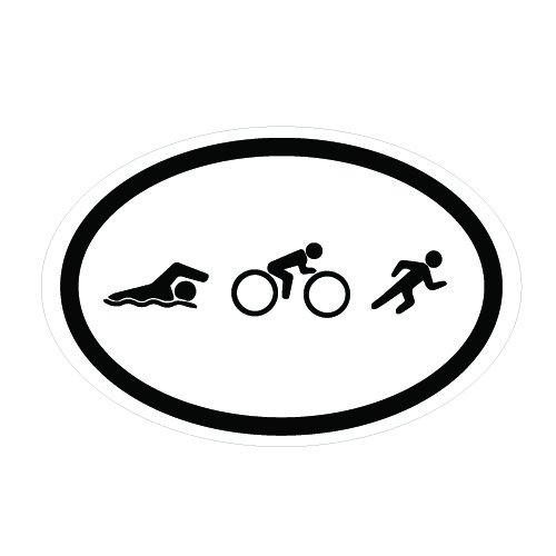 FLD05 Swim Bike Run Triathlon Sticker 6 x 4 (Triathlon Sticker)