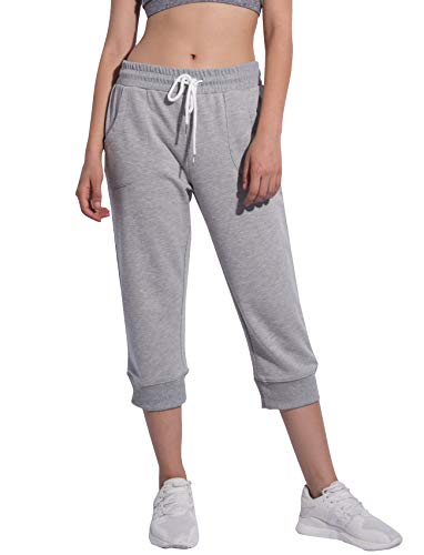 Women's Cropped Pant Jogger Lounge Capri Sweatpants with Drawstring and Pockets,Grey,M