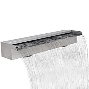 "SKB Family Rectangular Waterfall Pool Fountain Stainless Steel 23.6"" Outdoor Garden Ground Pool"