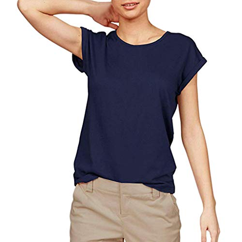 Tantisy ♣↭♣ Women Solid Comfy Loose Fit Roll Over Short Sleeve O Neck Lightweight Top Tee Cotton Casual T Shirts - Lulu Baby Boutique Dress