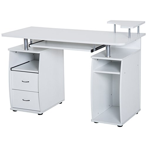 HomCom Home Office / Dorm Room Computer Desk with Keyboard Tray - White ()