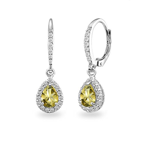 Sterling Silver Citrine Teardrop Dangle Halo Leverback Earrings with White Topaz -