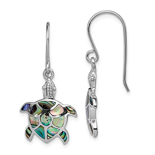 925 Sterling Silver Abalone Turtle Drop Dangle Chandelier Earrings Animal Sea Life Fine Jewelry Gifts For Women For ()