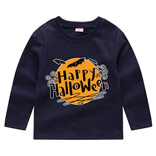 Toddler Kids Long Sleeve T-Shirt,Crytech Baby Boy Girls Trick Or Treat Pumpkin Ghost Skull Print Pullover Sweatshirt Halloween Theme Costume Fall Winter Tee Shirts (3-4 Years, Navy)