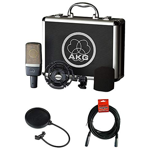 (AKG C214 Large-Diaphragm Condenser Microphone with Pop Filter & 20' XLR Cable)