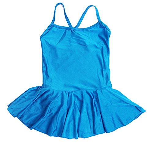Dancing On Ice Costumes For Kids (Kids Girls Blue Sports Ballet Leotard Dance Dress Sleeveless Camisole Gymnastics Fitness Costume Skirt XXXXL)