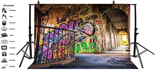 YEELE Graffiti Backdrop 10x10ft Chic Graffiti on The Shabby Stairway Wall Photography Background Alternative Street Art Kids Young Adults Portrait Photobooth Studio Props Digital Wallpaper