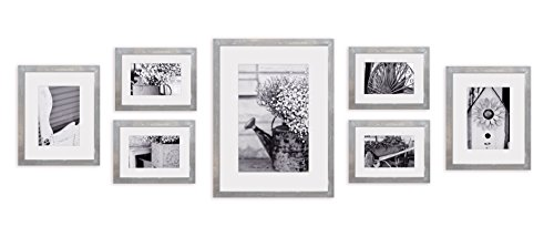 Assorted Frame Photo - Gallery Perfect Decorative Art Prints & Hanging Template 7 Piece Greywash Photo Frame Wall Gallery Kit Grey
