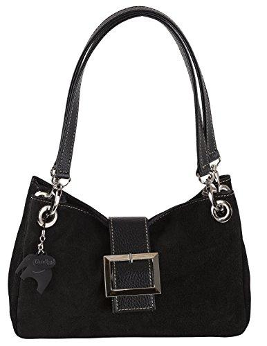 Donne Borsa in pelle camoscio piccola italiana con finiture finta - comprende una borsa di marca deposito protettivo e un fascino 28 x 18 x 11 cm (LxAxP) Nero (K104) - nero assettare