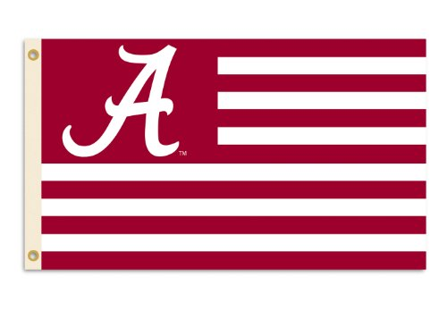 NCAA Alabama Crimson Tide A with Stripes 3-by-5 Foot Flag with Grommets - Ncaa Tailgate Flag