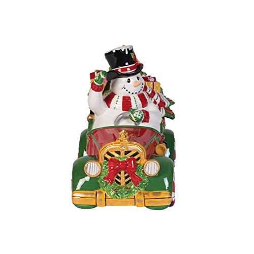 Fitz and Floyd 49-500 Top Hat Frosty Ceramic Cookie Jar, Red