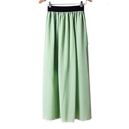 Morbuy Jupe Femme Longue Taille Elastique Longueur de la Cheville Jupes L't A-Ligne Casual lgante Jupe Pliss Cocktail. Matcha Vert