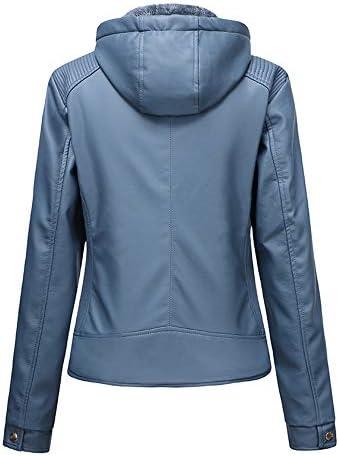 LFANH Vestes en Cuir Faux Amovible Capuche Femme, Veste Motard avec Poches Zippées, en Peluche Vintage Court Manteau pour l'hiver,Bleu,XXL