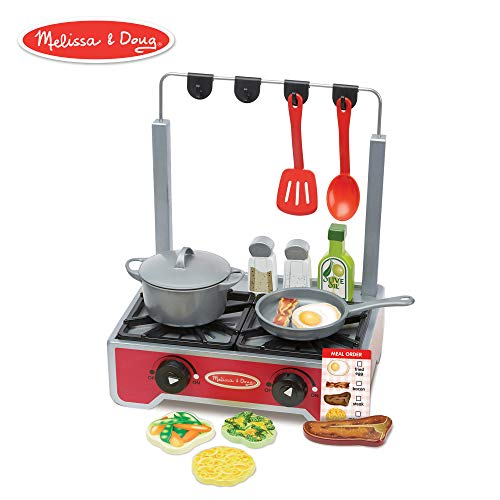 Melissa & Doug 19-Piece Deluxe Wooden Cooktop Set With Wooden Play Food, Durable Pot and Pan -