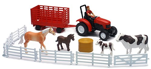 Farm Equipment And Animal Toy Set, Playset Includes Tractor, Trailor, Farm Animals, and More