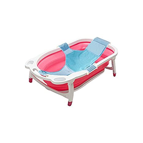 Kidsmile Baby Bathtub Portable Collapsible Bathing Tub with Non-Slip Mat, Foldable Shower Basin with Infant Sling, Comfort Folding Baby Bathtub, Deluxe Newborn to Toddler Tub, Blue KBB20-buthtub-blue