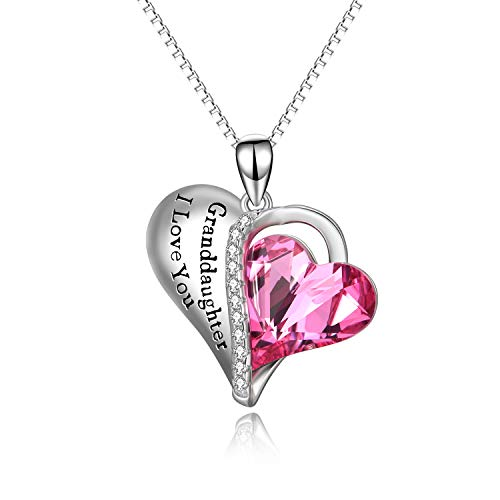 Granddaughter Gifts - Granddaughter I Love You - Sterling Silver Heart Necklaces from Grandma with Pink Swarovski ()